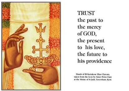 """Picture of """"Trust the Past to God's mercy"""" prayer card"""