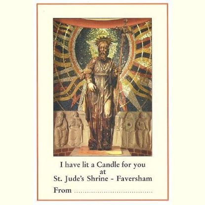 """Picture of """"I have lit a candle for you"""" prayer card at the Shrine of Saint Jude"""